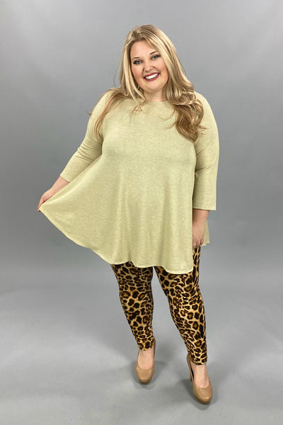 11-13 SLS-L  {Simple Day} Oatmeal Solid Tunic EXTENDED PLUS SIZE 3X 4X 5X