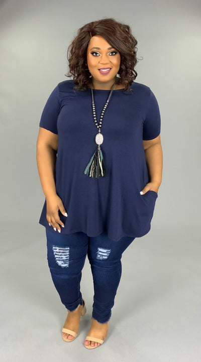 SSS-X {Casual Cutie} Navy Short-Sleeved Tunic with Pockets SALE!!