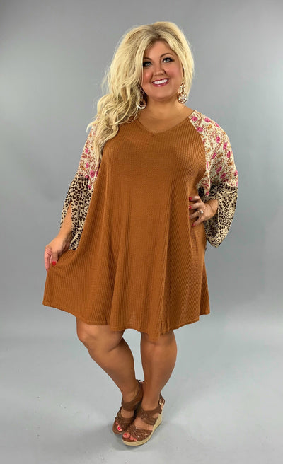 "CP-C {Free Falling} ""UMGEE"" Rust Dress with Floral Sleeves PLUS SIZE XL 1X 2X"