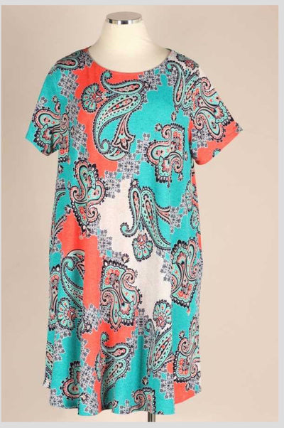 PSS-J {Give Me Life} Teal/Orange Paisley Print Dress EXTENDED PLUS SIZE 3X 4X 5X