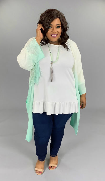 OT-H {Until We Meet Again} Ivory/Seafoam Green Knit Cardigan W/ Fringe Detail