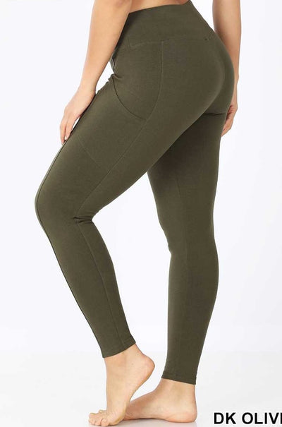LEG-18 {Fall Forests} Olive Wide Waistband Full Length Leggings PLUS SIZE 1X 2X 3X