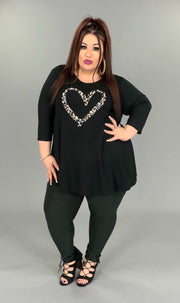 GT-B/E {Choose Love} Black Top With Leopard Heart 3/4 Sleeve EXTENDED PLUS SIZE 3X 4X 5X 6X