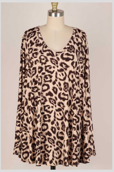 PLS-B {Autumn Calling} Brown Taupe Animal Print V-Neck Tunic EXTENDED PLUS SIZE 3X 4X 5X