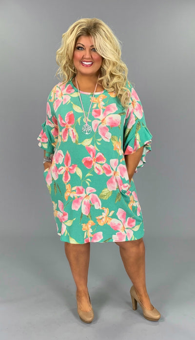 PQ-T {On Time} Green Floral Ruffle Sleeve Dress W/ Pockets PLUS SIZE 1X 2X 3X