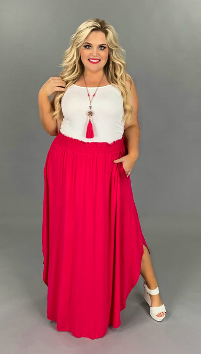BT-F {Gypsy Good Time} Fuchsia Skirt with Uneven Rounded Hem PLUS SIZE 1X 2X 3X