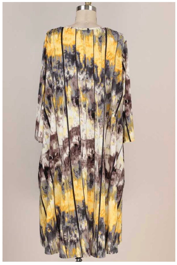 PQ-B {Almost Over You} Mustard & Grey Tie Dye Dress W/Pockets EXTENDED PLUS SIZE 3X 4X 5X