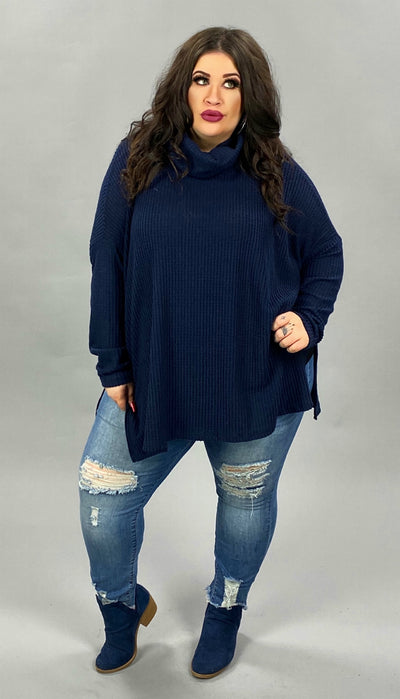 40 SLS-B {Here For Smores} Navy Waffle Knit Cowl Neck Top PLUS SIZE XL 2X 3X
