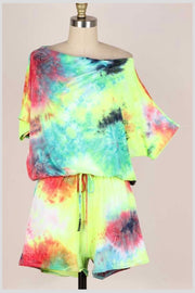 65 RP-H {Caught By Surprise} Tie Dye Romper PLUS SIZE 1X 2X 3X