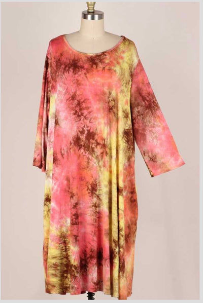 LD-B {Confident Cutie} Pink Brown Mustard Tie Dye Dress EXTENDED PLUS SIZE 3X 4X 5X