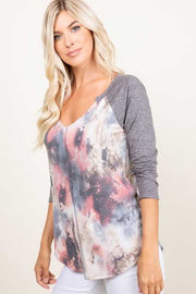 49 CP-D {Honey I'm Home} Grey Blush Tie Dye Contrast Top PLUS SIZE XL 2X 3X