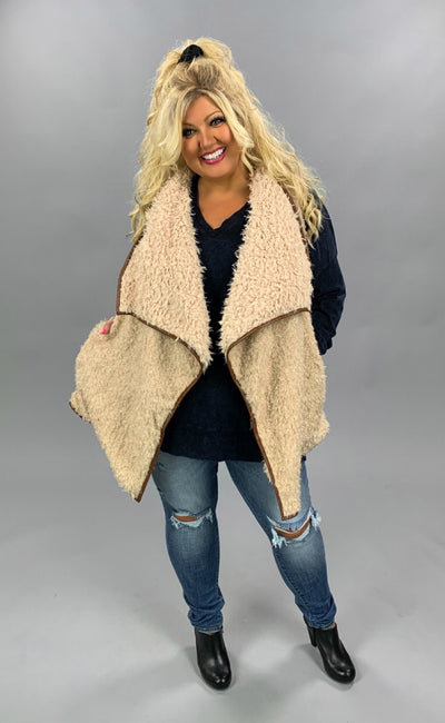 OT-Z {Playful Attention} Beige Loose Fit Faux Fur Vest PLUS SIZE 1X 2X 3X