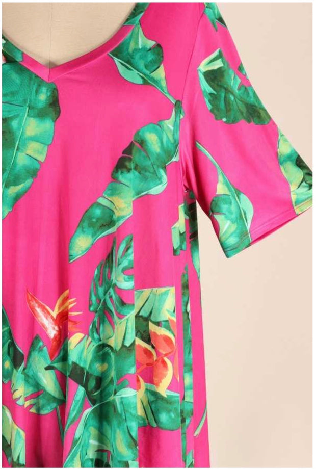 49 PSS-C {Vacation Ready} Magenta Green Tropical Leaf Tunic EXTENDED PLUS SIZE 3X 4X 5X