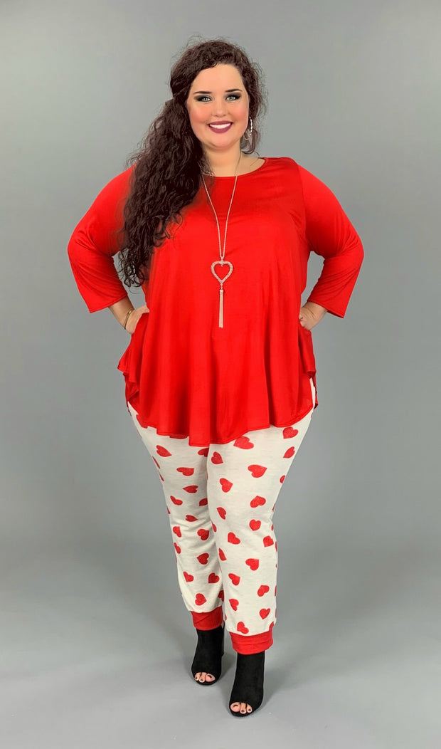 BT-E Drawstring Lounge Pants or Joggers with Red Hearts PLUS SIZE