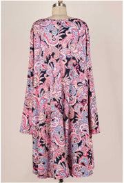 45 PLS-A {Stay With Me} Navy/Pink Paisley Dress Extended Plus 3X 4X 5X