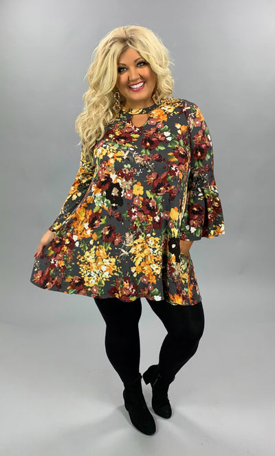 PQ-C {Fall Market Stand} Grey & Mustard Floral Keyhole Tunic EXTENDED PLUS SIZE XL 2X 3X 4X 5X 6X