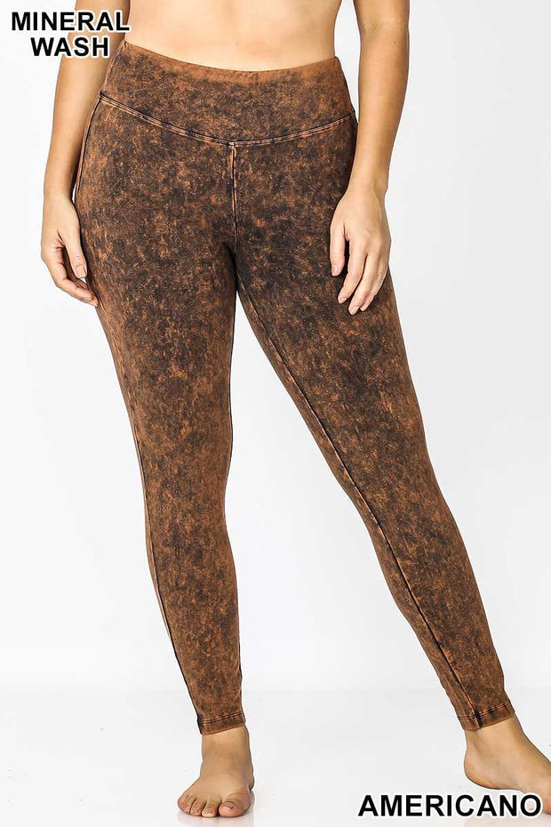 LEG-22 {Cool Touch} Americano Mineral Wash Leggings PLUS SIZE 1X 2X 3X