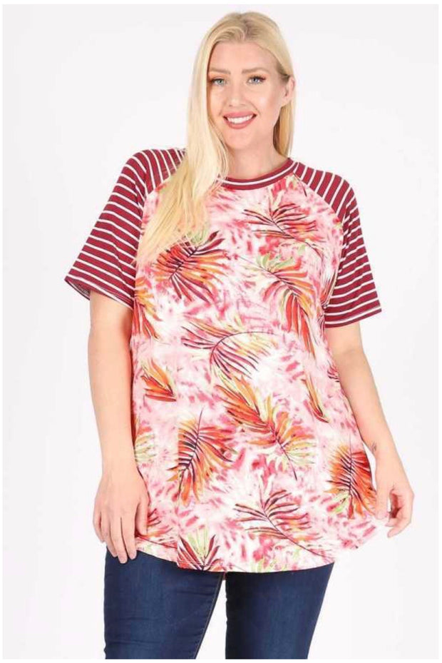 54 CP-D {Sea of Leaves} Striped Sleeve with Leaf Tunic EXTENDED PLUS SIZE 3X 4X 5X