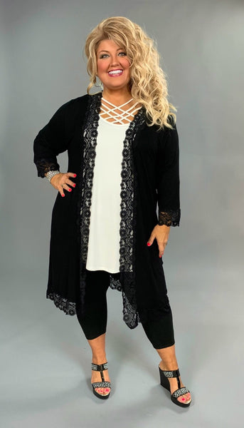 OT-F {Guilty Pleasure} Black Cardigan with Lace Detail