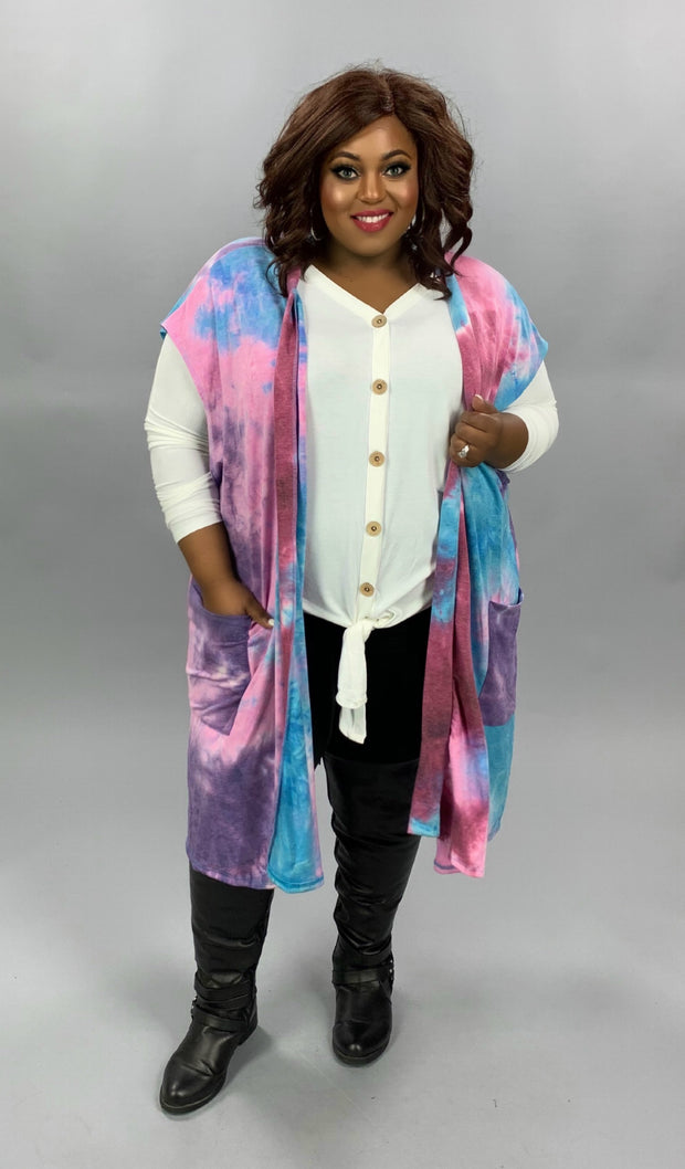 OT-Z {Lucky Together} Purple Blue Mauve Tie Dye Knit Vest CURVY BRAND EXTENDED PLUS SIZE 3X 4X 5X 6X
