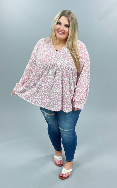 46 PQ-A {Blissful Days} Pink Ivory Animal Print Babydoll Top PLUS SIZE XL 2X 3X