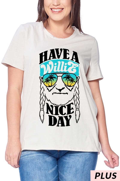 GT-O {Willie Nice Day} Oatmeal Graphic Tee Willie Nice Day PLUS SIZE 1X 2X 3X