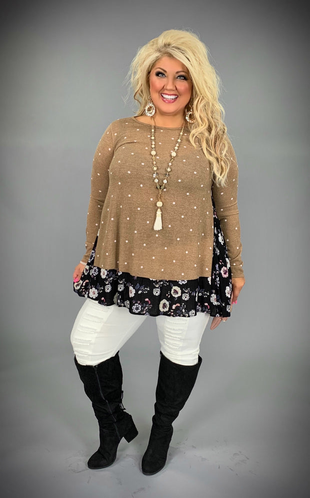 CP-Z {Cappuccino Smiles} Polka Dot Tunic with Floral Knit Hem  PLUS SIZE 1X 2X 3X  SALE!!