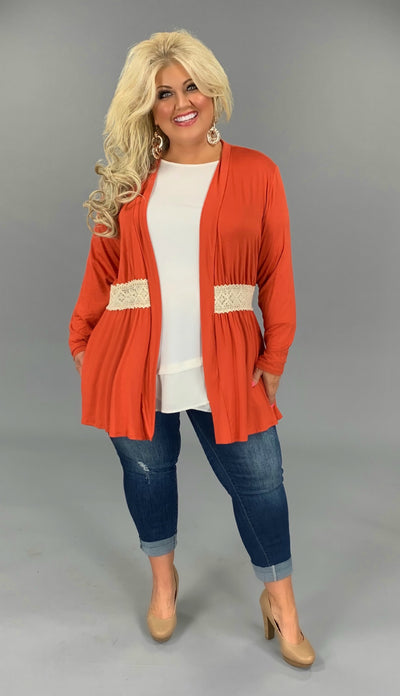 OT-W {Into Your Arms} Burnt Orange Cardigan W/Lace Detail