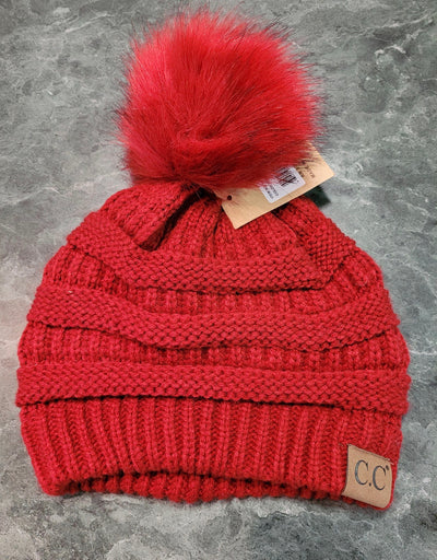HAT- C.C. Beanie With Fur Ball