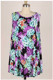54 SV-M {Pretty As Can Be} Purple Flowers on Black Tunic EXTENDED PLUS 3X 4X 5X