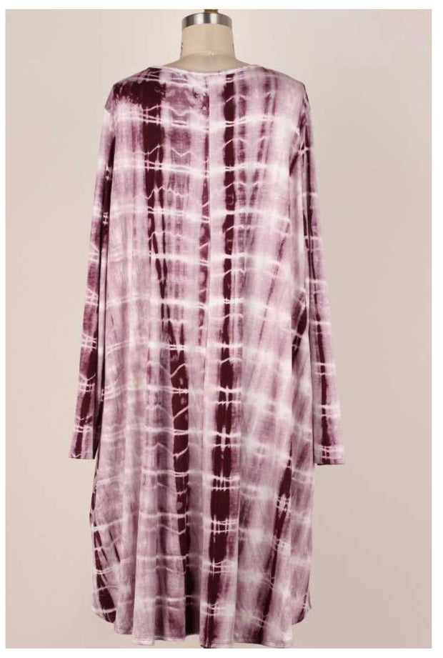 PLS-Q {Never Resist} Burgundy Ivory Bamboo Tie Dye Dress EXTENDED PLUS SIZE 3X 4X 5X