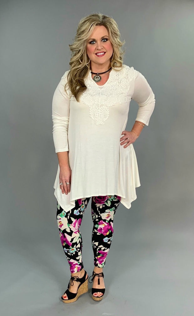 SLS-M {Done Deal} Ivory Asymmetrical Top with Crochet Detail FLASH SALE