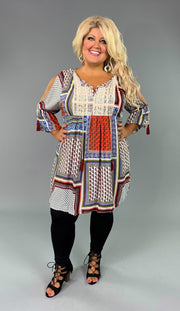 "OS-L ""KORI"" Multi-Print Patchwork Tunic or Dress with Lace Detail SALE!!"