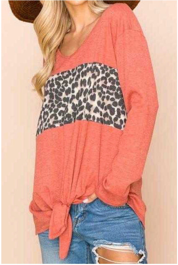 10-01 CP-X {Chasin' That Feeling} Rust Leopard Contrast Knot Top PLUS SIZE XL 2X 3X