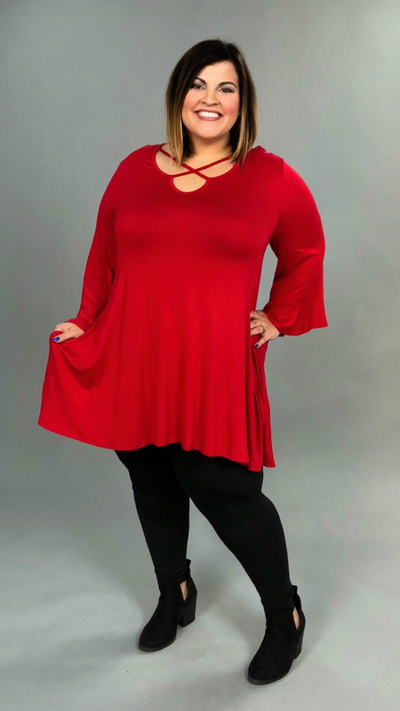 SQ-E {Lover's Tryst} Red Tunic with Criss-Cross Detail Extended Plus