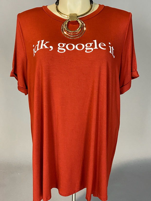 "GT-D {idk, google, it.} SALE!! Brick Red Graphic Tee ""Curvy Brand"" EXTENDED PLUS SIZE 3X 4X 5X 6X"