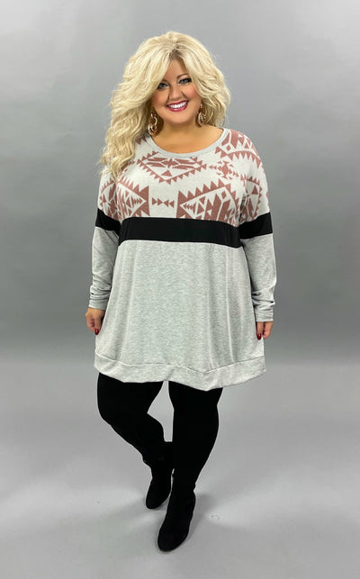36 CP-H {Bold Choices} SALE!!  Grey Mauve Printed Tunic  CURVY BRAND EXTENDED PLUS SIZE 3X 4X 5X 6X