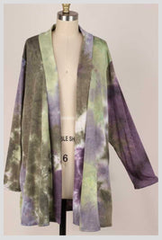 OT-C {Love Me Dearly} SALE!! Purple & Green Tie Dye Knit Cardigan EXTENDED PLUS SIZE 4X 5X 6X