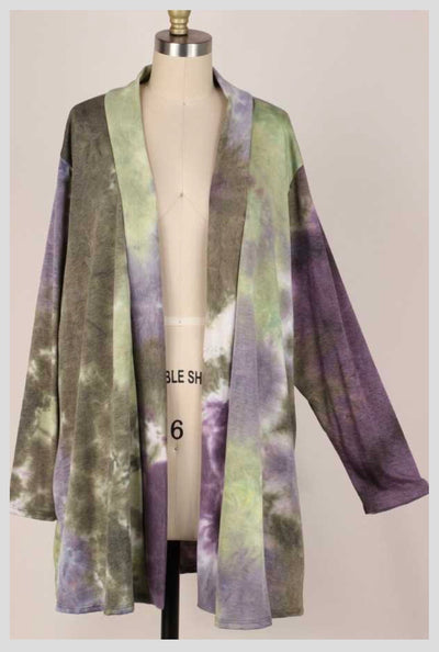 OT-C {Love Me Dearly} Purple & Green Tie Dye Knit Cardigan EXTENDED PLUS SIZE 4X 5X 6X