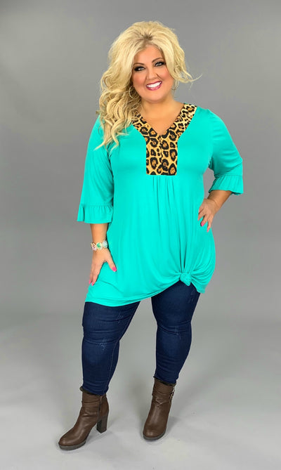 CP-F {Wild About You} Jade Dress with Leopard Contrast PLUS SIZE 1X 2X 3X  (SIZE UP)