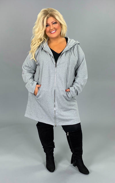 HD-T {Miles Apart} Long Gray Hoodie Jacket Full Zipper