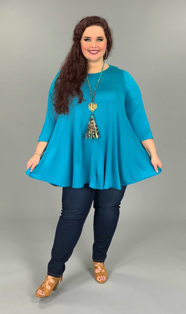 SQ-F (Freely Me) Turquoise Tunic With 3/4 Sleeve EXTENDED PLUS 3X 4X 5X