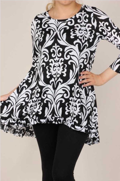 49 PQ-A {Best Of Friends} Black White Damask Hi-Low Top PLUS SIZE XL 2X 3X