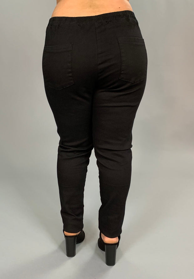 "BT-V ""Hayden LA"" Black Denim Jeans with Elastic Waist  PLUS SIZE SALE!"