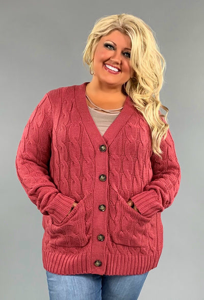 OT-R {Style Obsession} Rose Cable Knit Button Up Sweater PLUS SIZE 1X 2X 3X  SALE!!