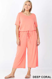 RP-P {Jump For Excitement} Coral Jumpsuit with Tie Neck/Elastic Waist PLUS SIZE 1X 2X 3X SALE!!
