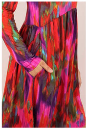 PLS-B {Breathe Easy} Red Purple Abstract Babydoll Dress PLUS SIZE XL 2X 3X