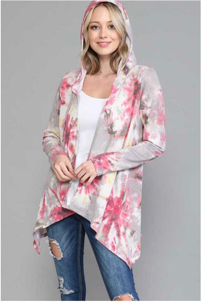 48 OT-C {Happiness Always} Pink Grey Tie Dye Cardigan Hood EXTENDED PLUS SIZE 4X 5X 6X