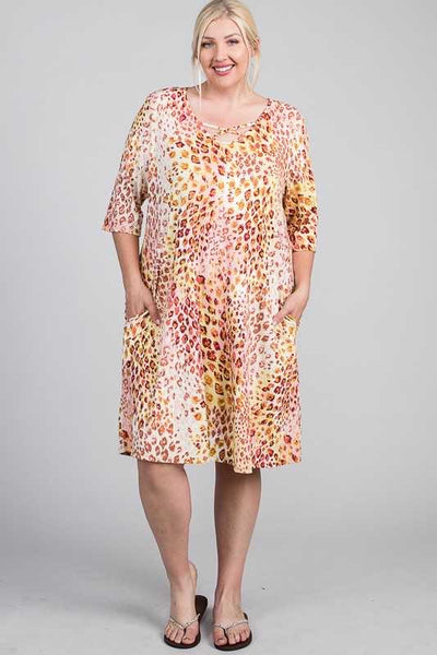 54 PQ-B { Don't Be Shy}  Blush Yellow Leopard Print Dress Plus Size XL 2X 3X