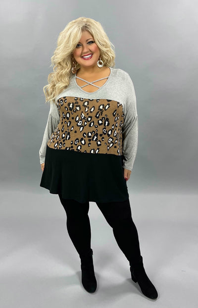 32 CP-A {Across The Way} Grey Mocha Leopard Black Tunic CURVY BRAND EXTENDED PLUS SIZE 3X 4X 5X 6X